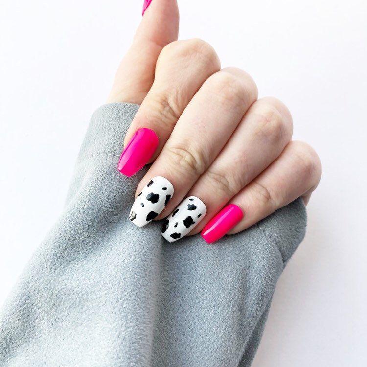 Neon Pink And Cow Print Press On Nails False Nails Stick On Nails Temporary Nails Reusable Nails Artificial N Press On Nails Stick On Nails Cow Nails