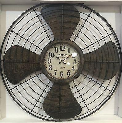 Large Vintage Antique Distressed Iron Metal Wall Clock Plane Propeller Bnib New Metal Wall Clock