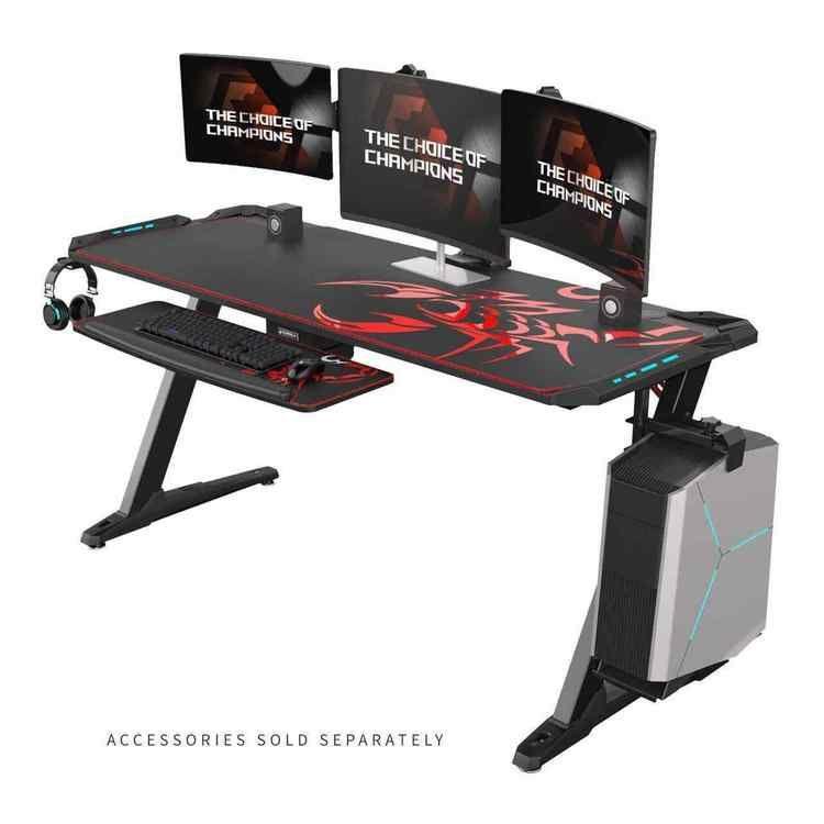 Z1 S Gaming Desk With Led Lights Controller Stand Cup Holder Headphone Hook Black Gaming Desk Good Gaming Desk Gaming Computer Desk