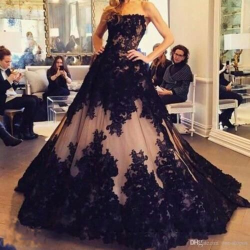 Photo of Gothic Black Lace Ball Gown Quinceanera Dress  Formal Pagean…