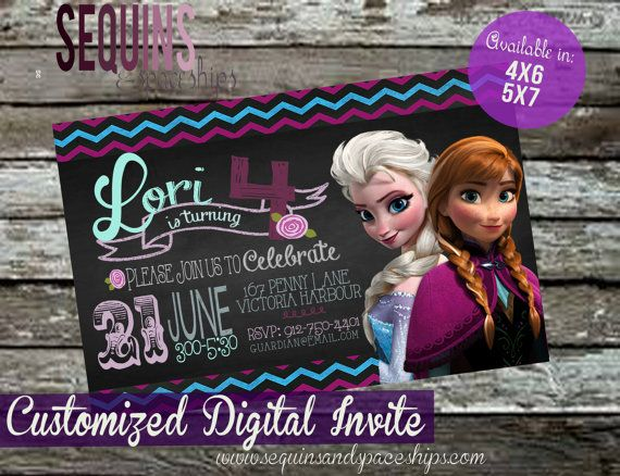 Start off your little loves party with this super cute, flashy Frozen Invitation! You choose your size: 4x6 or 5x7! Need the invite for two?
