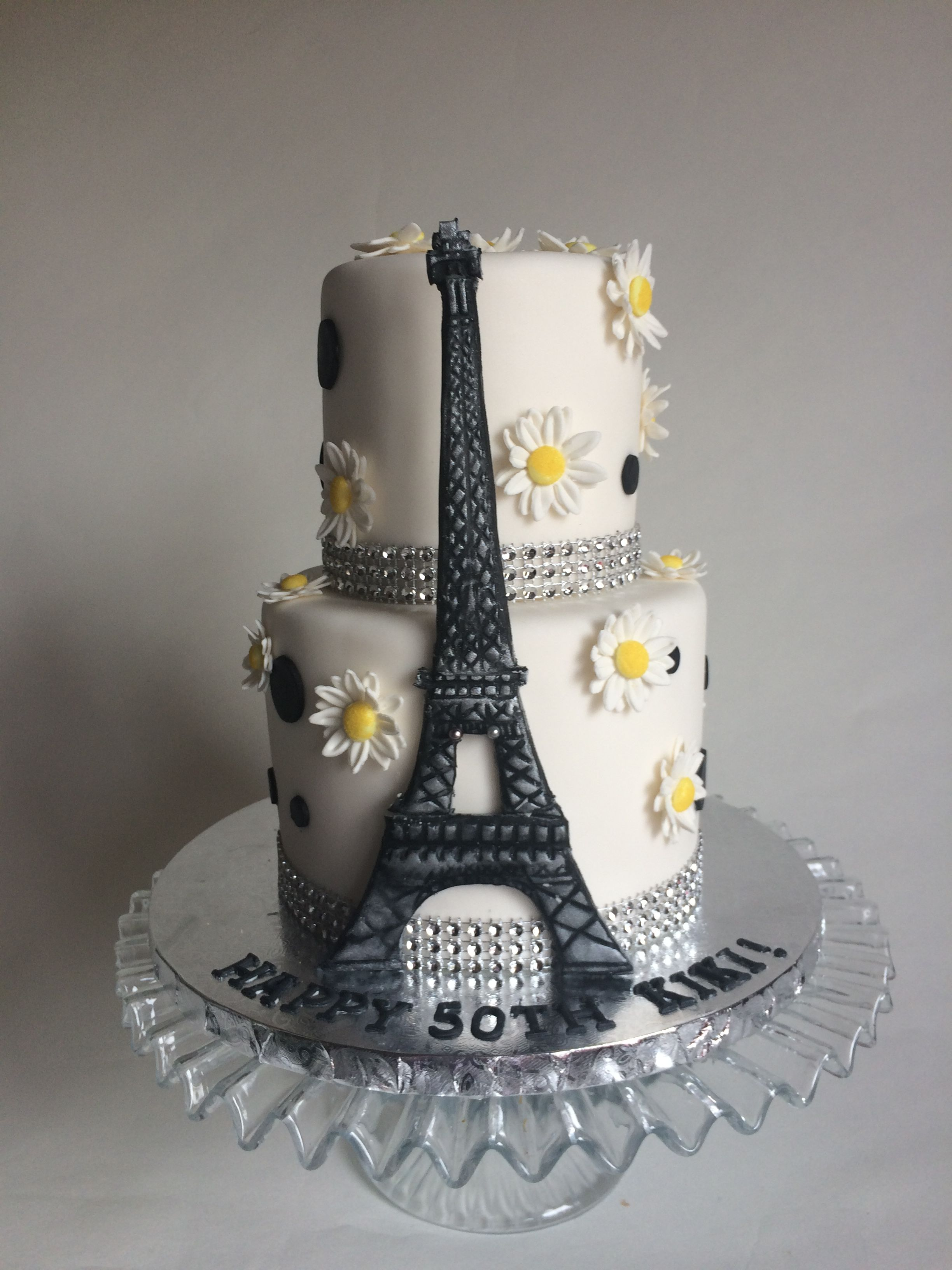 Wondrous Spring In Paris Themed Birthday Cake With Eiffel Tower And Polka Funny Birthday Cards Online Fluifree Goldxyz
