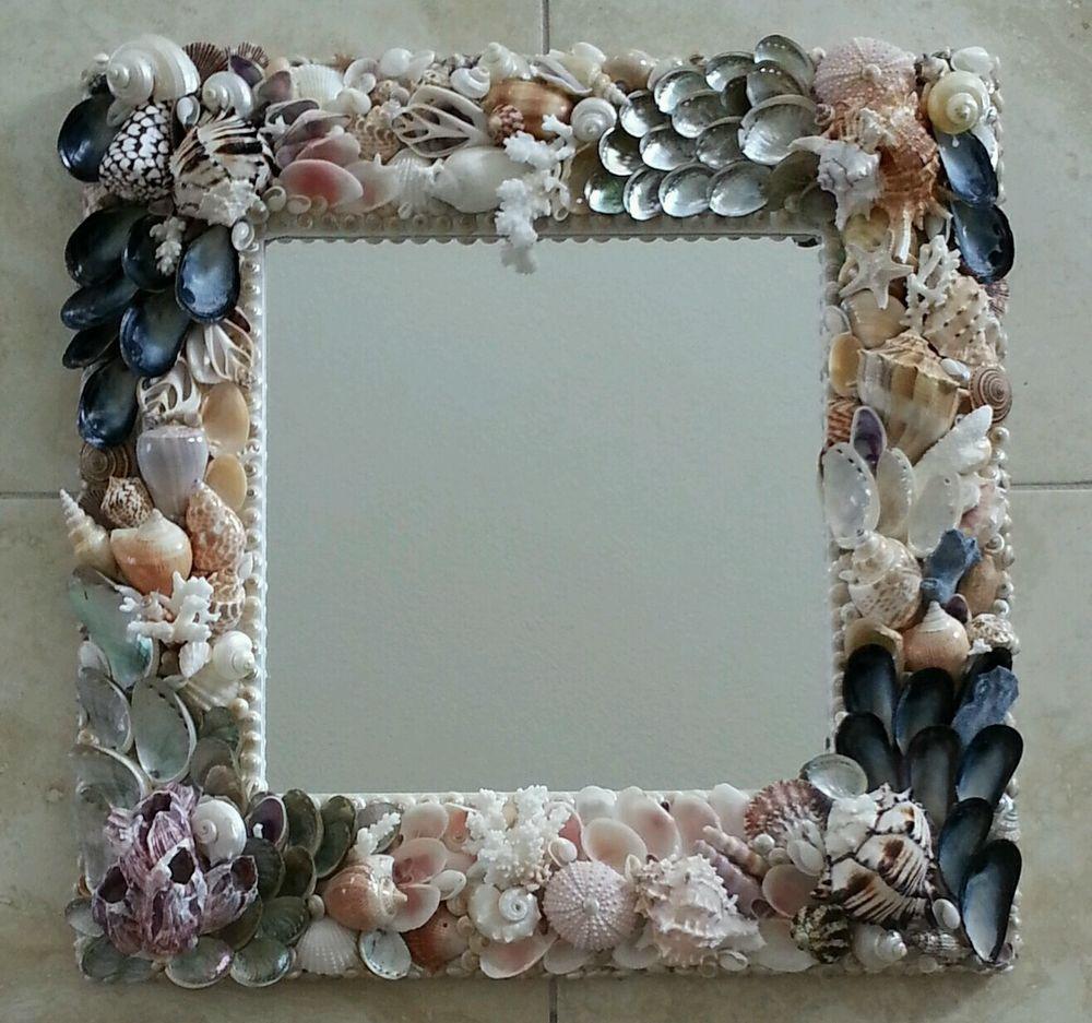 "Neptune's Garden ""  Seashell mirror   WALL MIRROR 18.5"" x18.5"" #Handmade…"