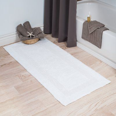 Three Posts Berndt Extra Long Reversible Bath Rug Color White