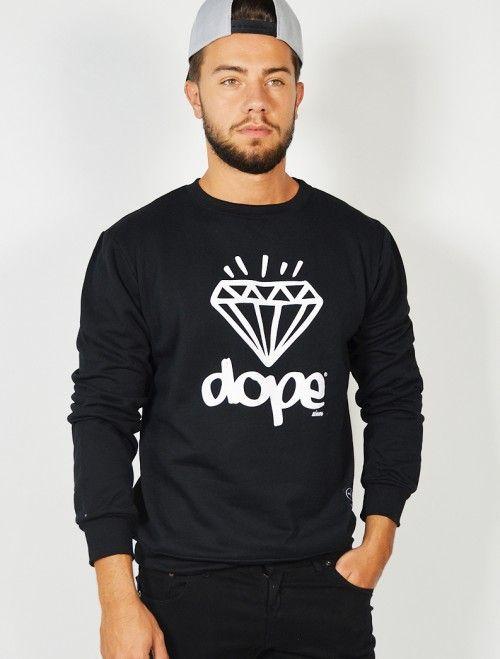 afa0d64d165b3 Sudadera negra con estampado Dope. Compra online sudaderas Dope y moda Swag  a los mejores