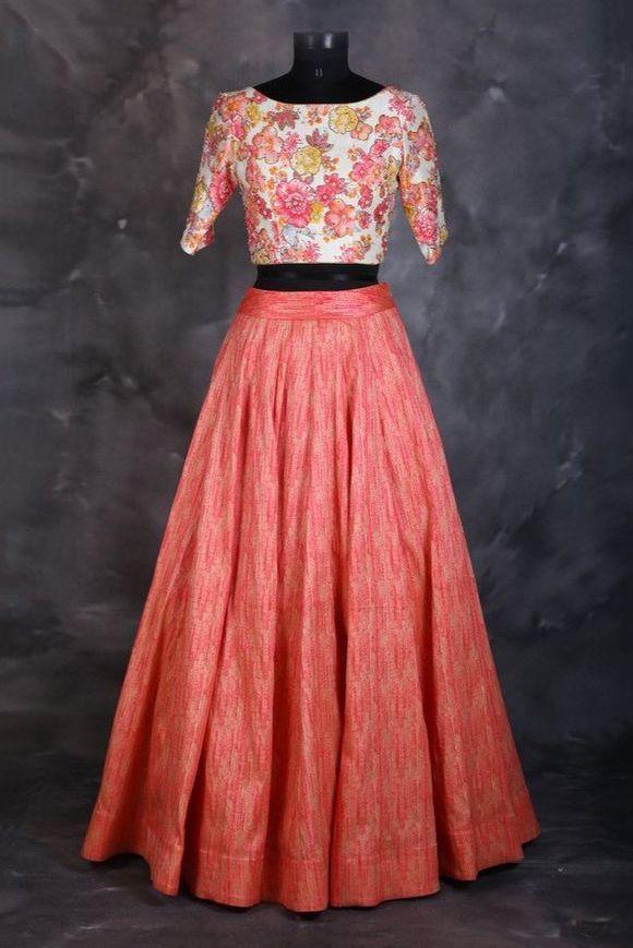 e0b531a17f3ec7 Taffeta And Silk Party Wear Crop Top Lehenga In Peach Colour Product Code    LD1130208 Price Rs 1