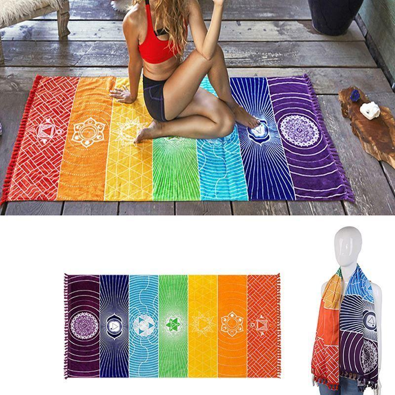 Yoga Towel Chakra: 7 Chakras Energy Healing Tapestry