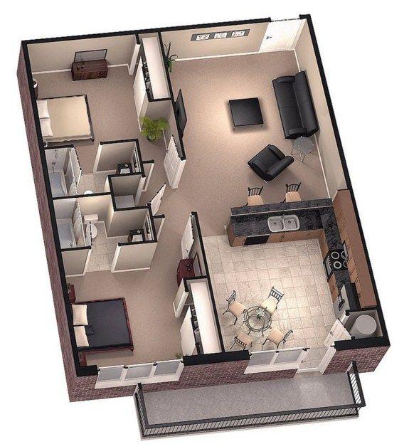 Como distribuir 70 metros2 planos de casas en 2019 for Planos de casas pequenas en 3d