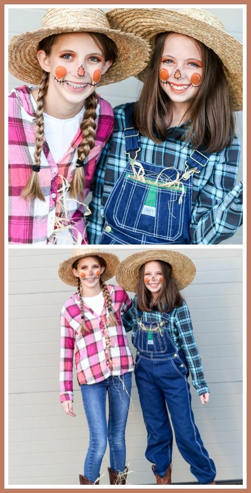 Easy teen or tween Costume Idea – scarecrows! cute and appropriate! - Sugar Bee Crafts : Easy teen or tween Costume Idea – scarecrows! cute and appropriate! - Sugar Bee Crafts #Easy #teen #tween #scarecrowcostumediy