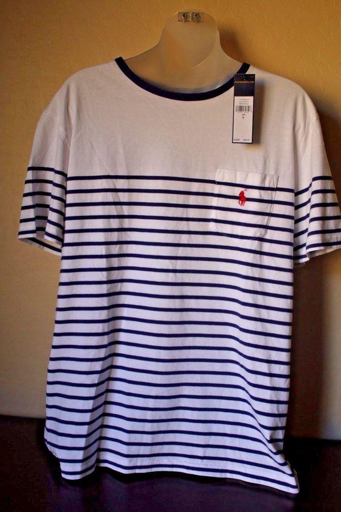4c6fe5c7 Ralph Lauren Polo Men's Tee T-Shirt Striped Pony White Yale Blue Pocket -  Large #PoloRalphLauren #BasicTee