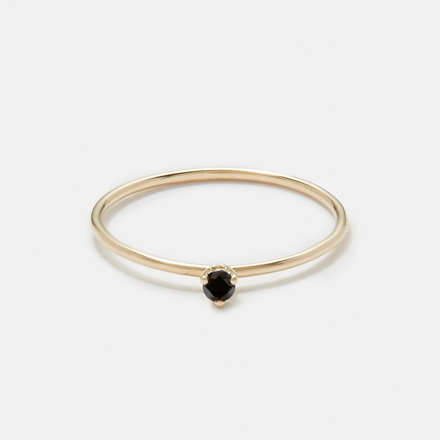 Tiny solitaire ring with black diamond adornment pinterest