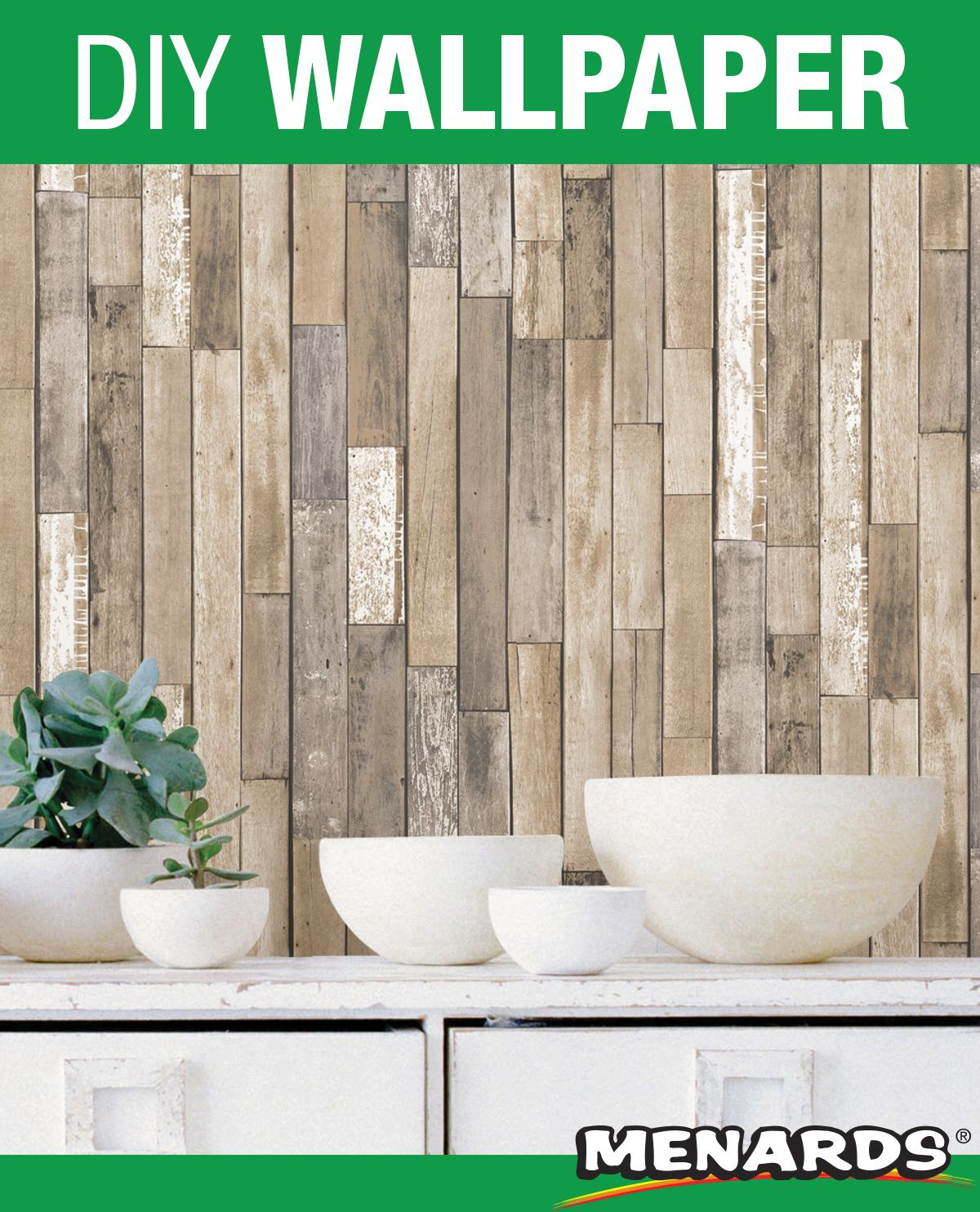 Get The Look Of Weathered Plank With This Wallpaper Its Light Natural Look Will Brighten Up Your Space Espe Diy Wallpaper Peel And Stick Wallpaper Wallpaper
