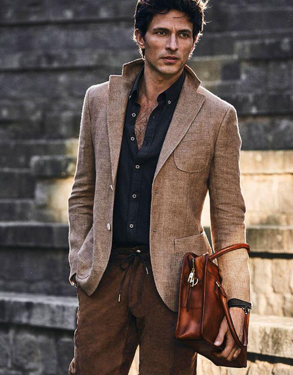 Andrés Velencoso in Tailored Linen Blazer, Suede Bermuda Shorts, Espadrilles - Massimo Dutti Men's Spring 2016 Collection