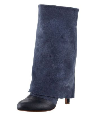 Fold-Over Suede Mid-Calf Boot, Navy by See by Chloe at Bergdorf Goodman.