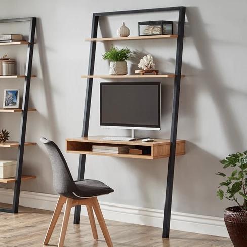Portay 38 Leaning Desk Ladder Shelves Two Tone Black Oak Brown Inspire Q Leaning Desk Desk Decor Cute Desk Decor