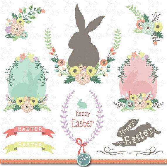 Easter Clip Art EASTER CLIPART SetEaster BunnyVintage FlowersFlower