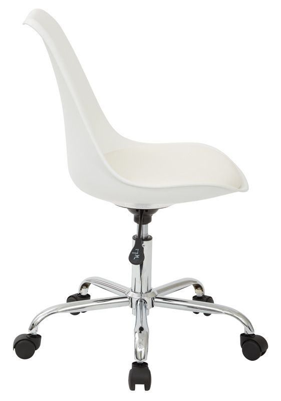 Ave Six Emerson Armless Task Chair With Chrome Base And Casters   White, PP  Seat