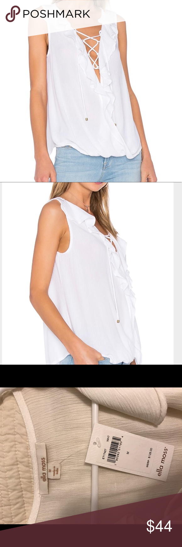 Ella Moss - Miko Tank White - Medium Ella Moss ruffle front, sleeveless tank white. Size M, never worn, purchased this spring from Revolve Clothing Online. It's gorgeous brand new condition stored in my closet that is pet free and smoke free. Ask anything! 🛍❤️👚 Ella Moss Tops
