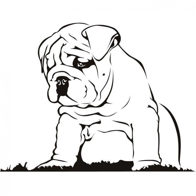 El perrito del dogo etiqueta de la pared del arte del perro de pared