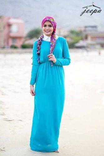 blue maxi hijab dress- Cute hijab for teens http://www.justtrendygirls.com/cute-hijab-for-teens/
