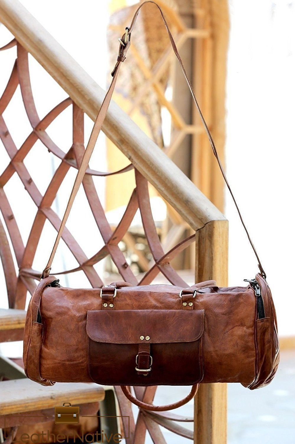 c7844fdc47cf Large Handmade Vintage Men s Genuine Leather Travel Duffel Weekend Bag  and or Gym bag made from genuine
