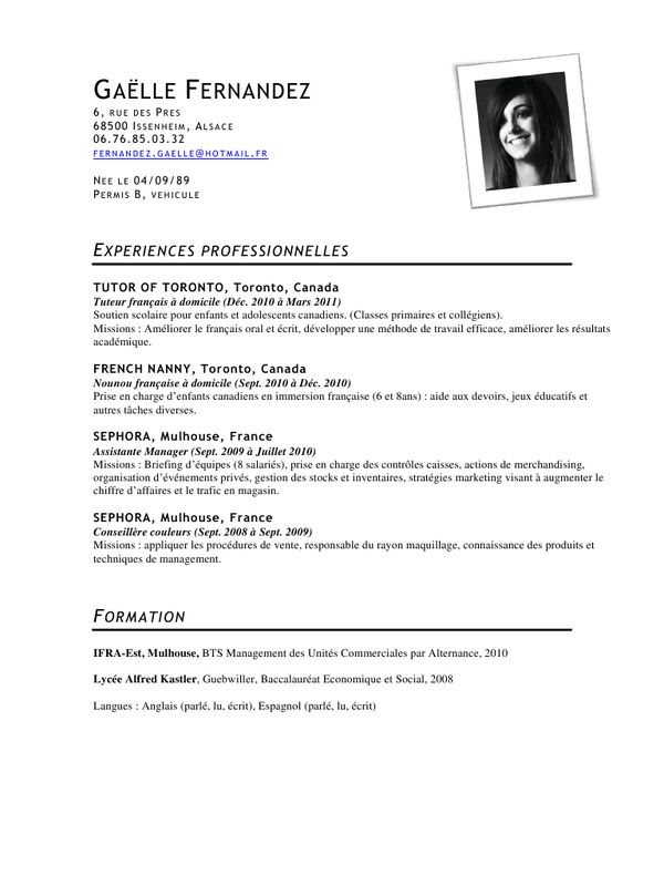 Modele Cv Bts Assistant Manager  Cv Anonyme  Re