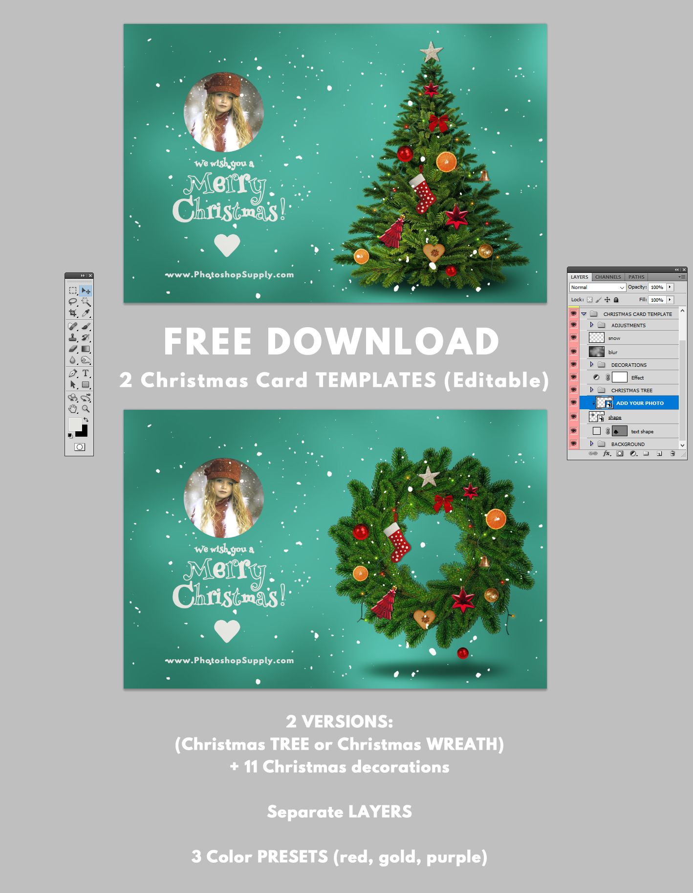 Christmas Card Templates For Photoshop Photoshop Supply Christmas Card Templates Free Photoshop Christmas Card Template Christmas Templates Free