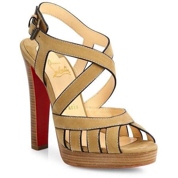 Christian Louboutin Tres City Suede Sandals (20,540 MXN) ❤ liked on Polyvore featuring shoes, sandals, apparel & accessories, peep toe shoes, strap sandals, criss cross strap sandals, caged shoes and christian louboutin
