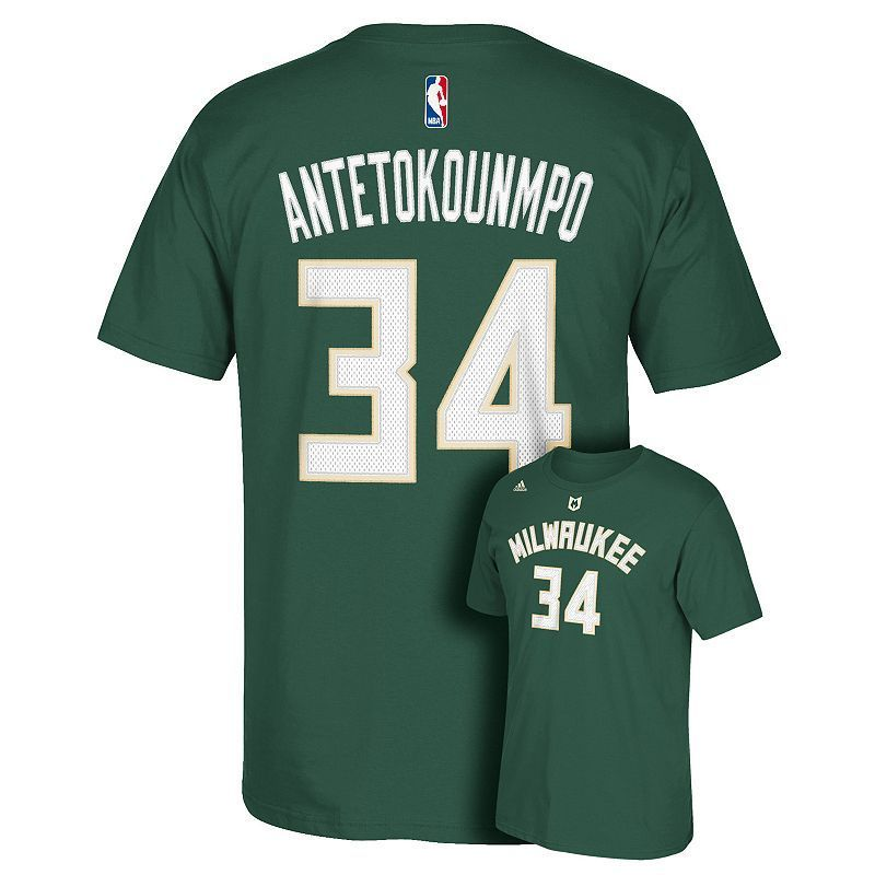 363372d46f7 Men s adidas Milwaukee Bucks Giannis Antetokounmpo Name   Number Tee ...