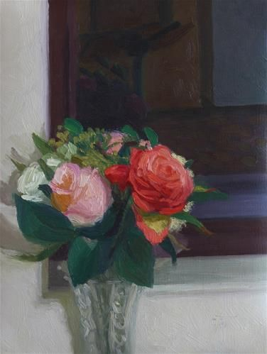 Window Roses at Night - Original Fine Art for Sale - © by Charmaine Jackson