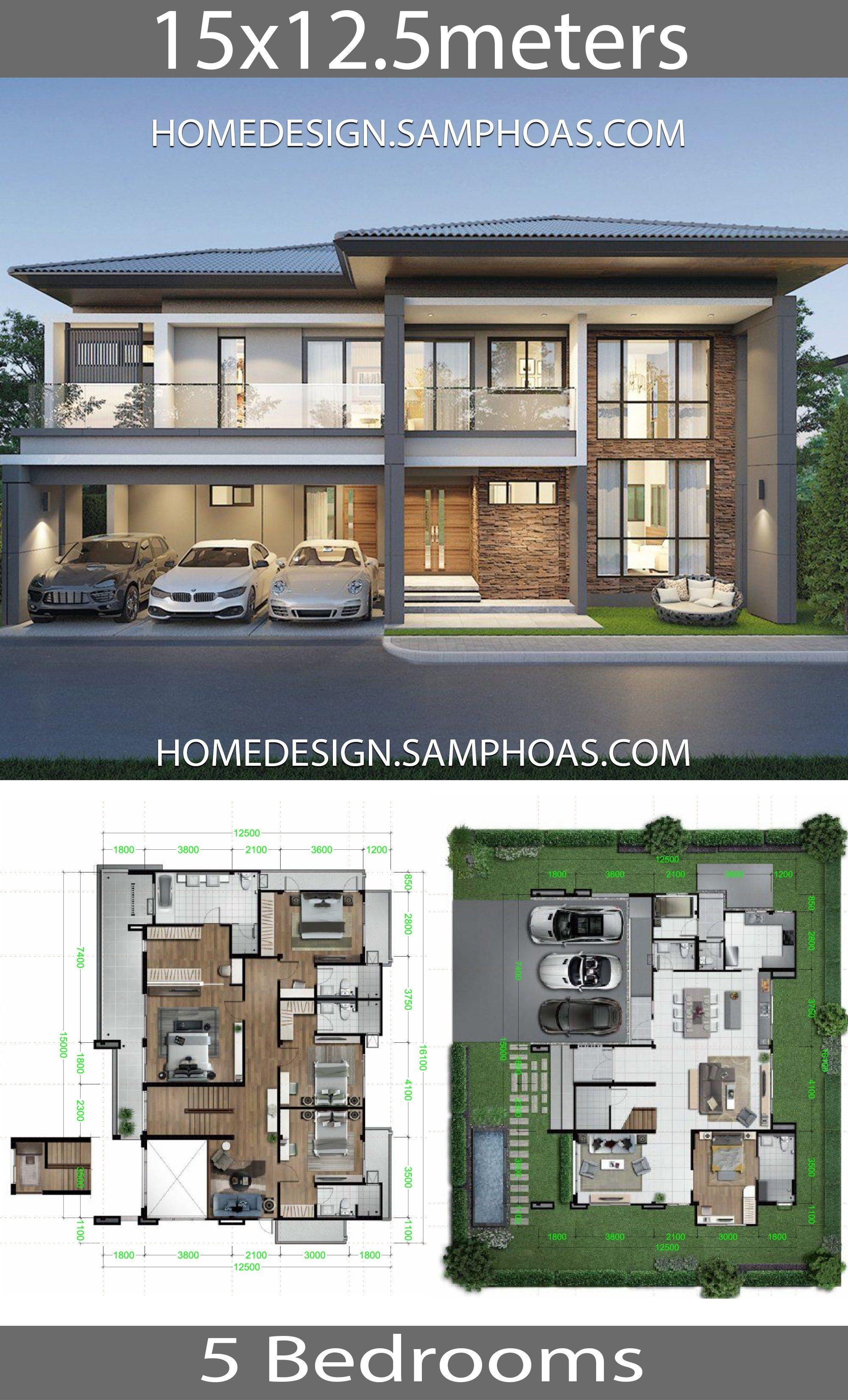 Home Design Plans 15x12 5m With 5 Bedrooms House Description 2 Storey Single Detached House 375 Sq M Home Design Plans Model House Plan 2 Storey House Design