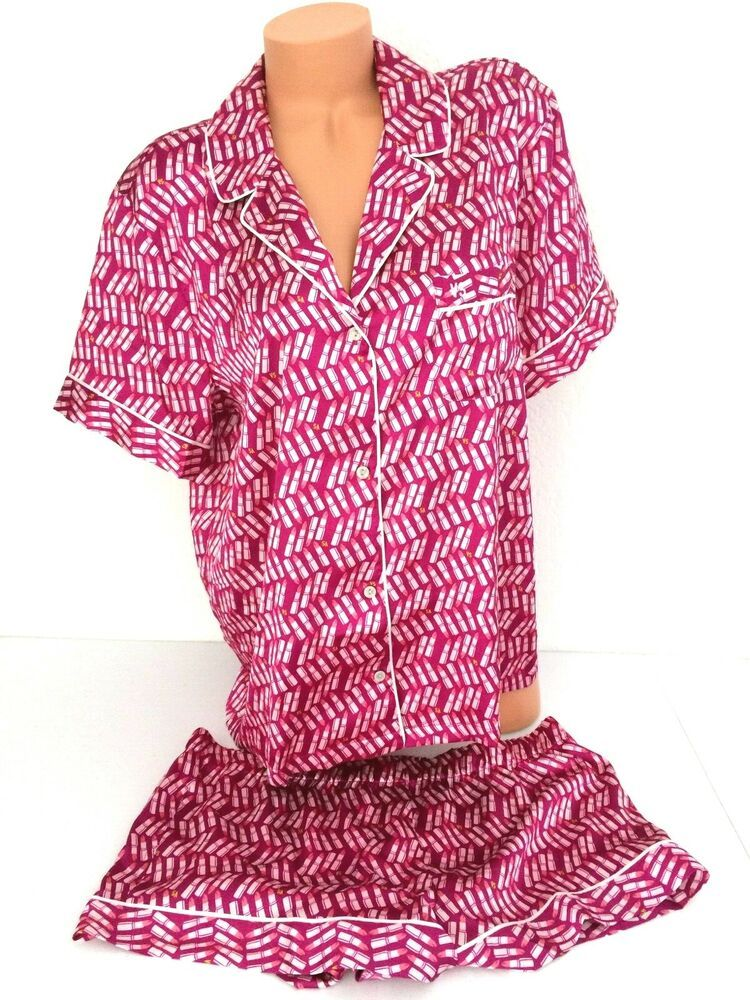 Victoria Secret Satin Afterhour Pajama PJ Top Short Bottom Pink Lip Boxer  Set XS  VictoriasSecret 75d7721fc
