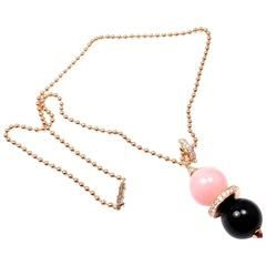 Cartier Evasions joaillieres Pink Opal Onyx Diamond Gold Lariat Necklace