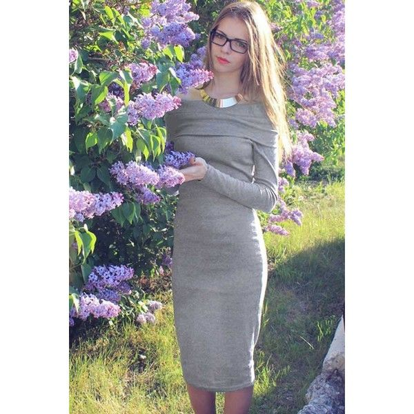 Gray Off Shoulder Long Sleeve Sexy Bodycon Midi Sweater Dress 16