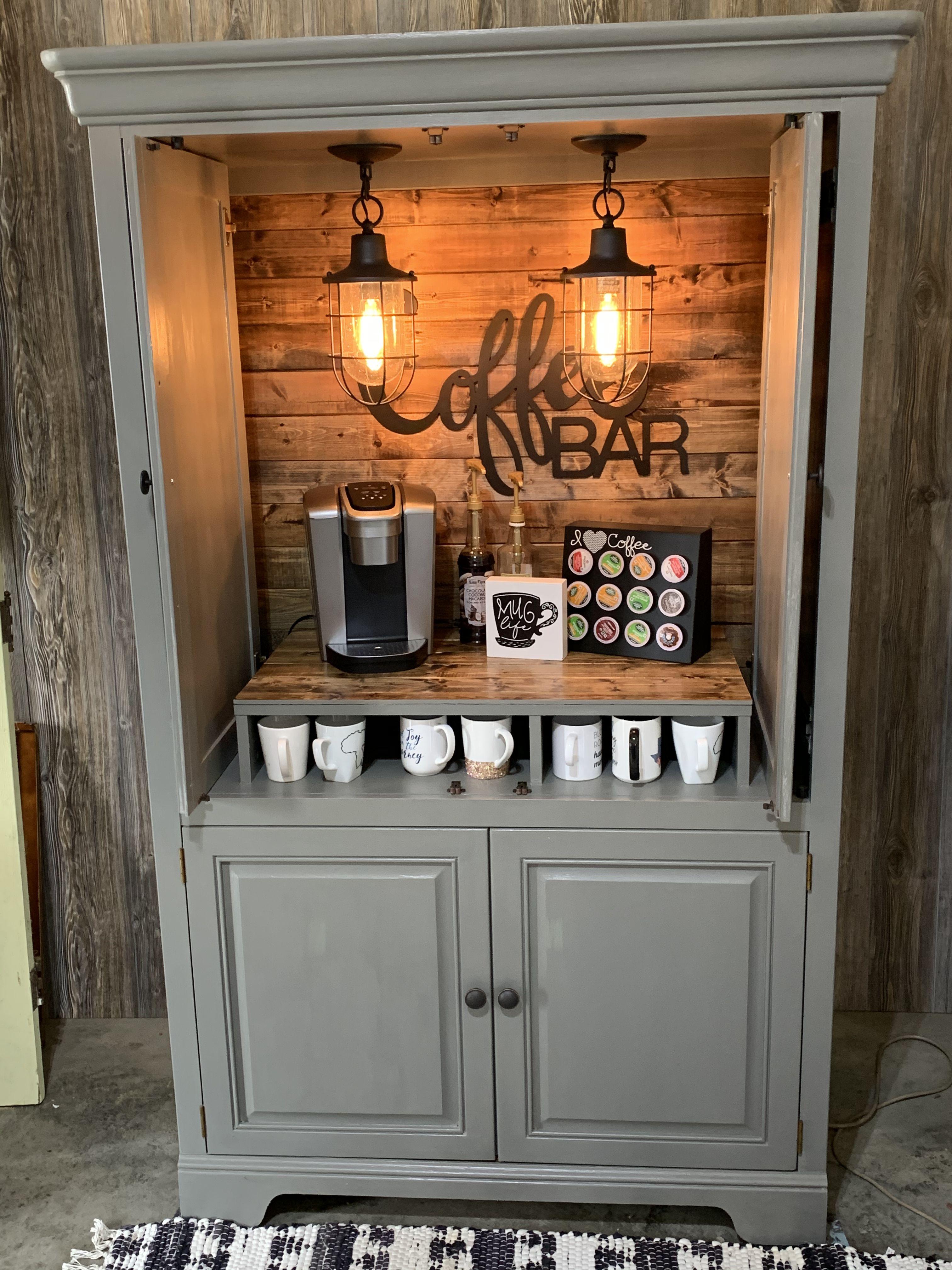 Farmhouse custom armoire coffee bar beverage station
