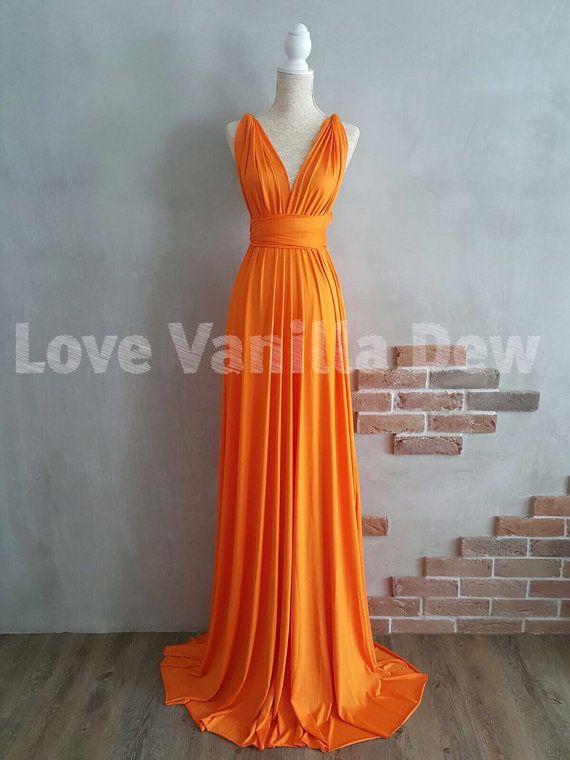 Bridesmaid Dress Infinity Dress Bright Orange Floor Length Maxi Wrap ...