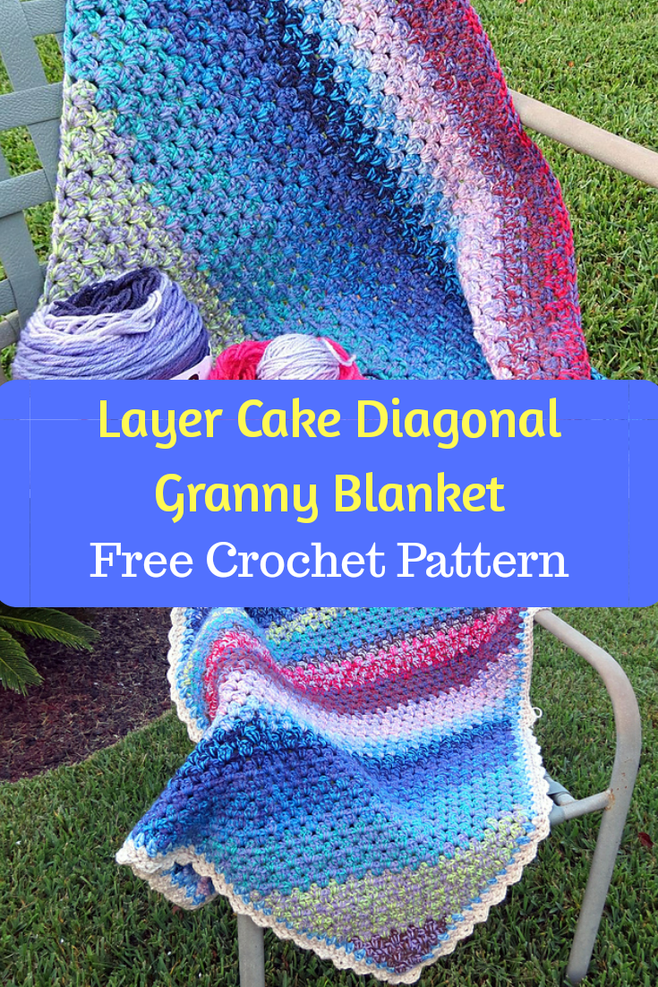 Layer Cake Diagonal Granny Blanket Free Crochet Pattern Share