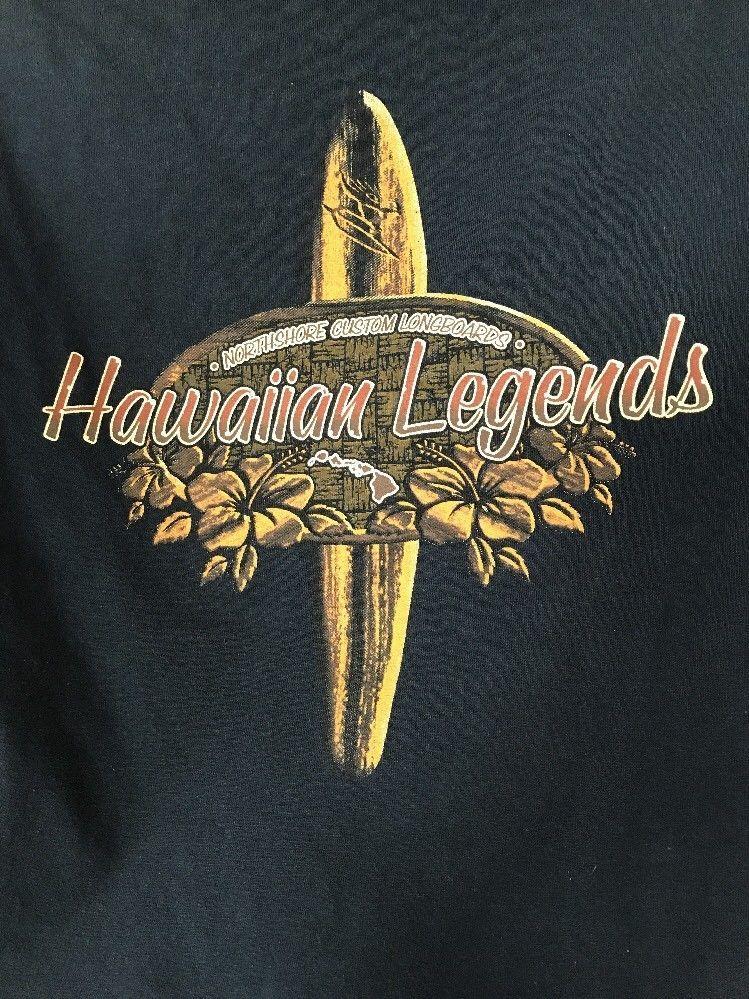 1989f7d2 Hawaiian Longboard Legends Mens T-Shirt Hawaii North Shore Surf Blue Large  #CottonHeritage #GraphicTee