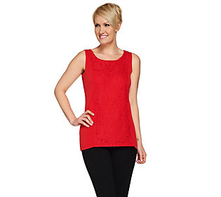 1a3d8aec2c321 Susan Graver Liquid Knit Scoop Neck Tank with Lace Overlay