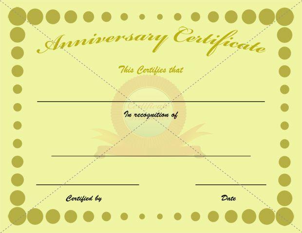 Anniversary Certificate | Certificate Template | Pinterest ...