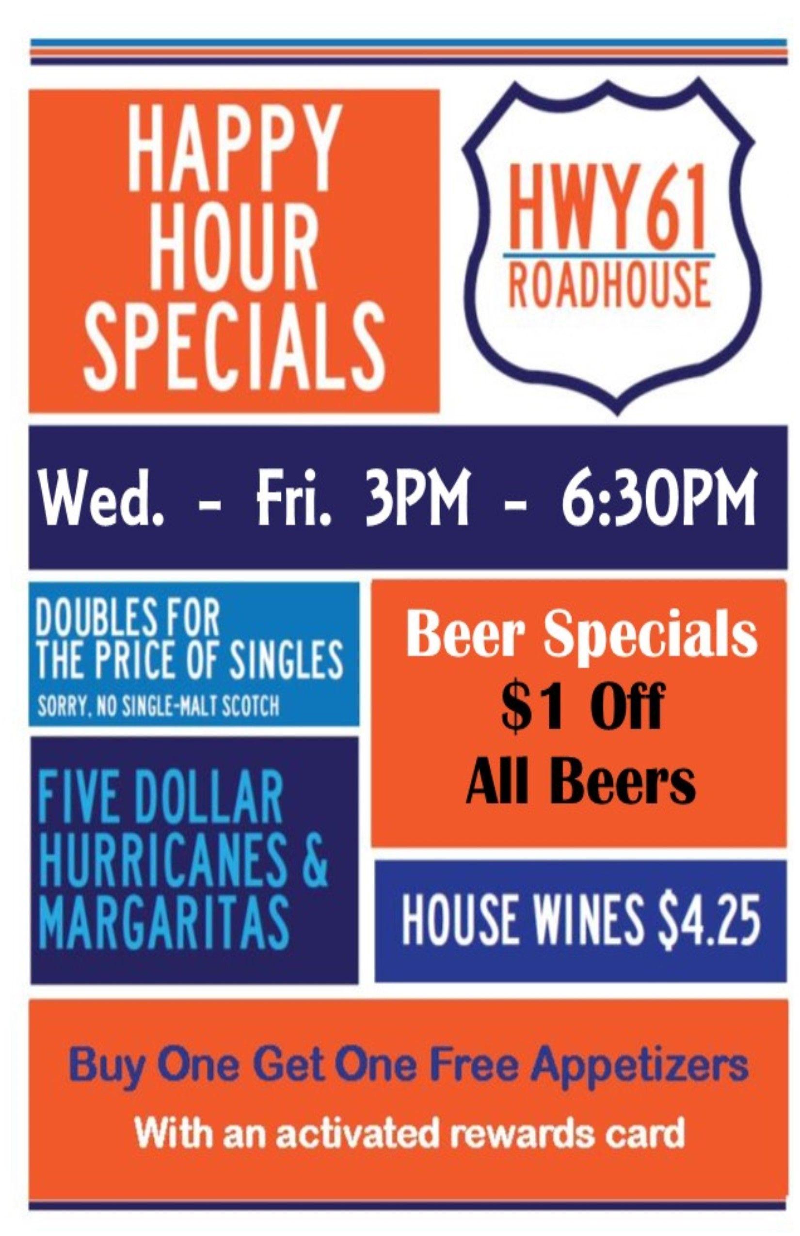 Happy hour wedfri 3630pm beer specials reward card beer