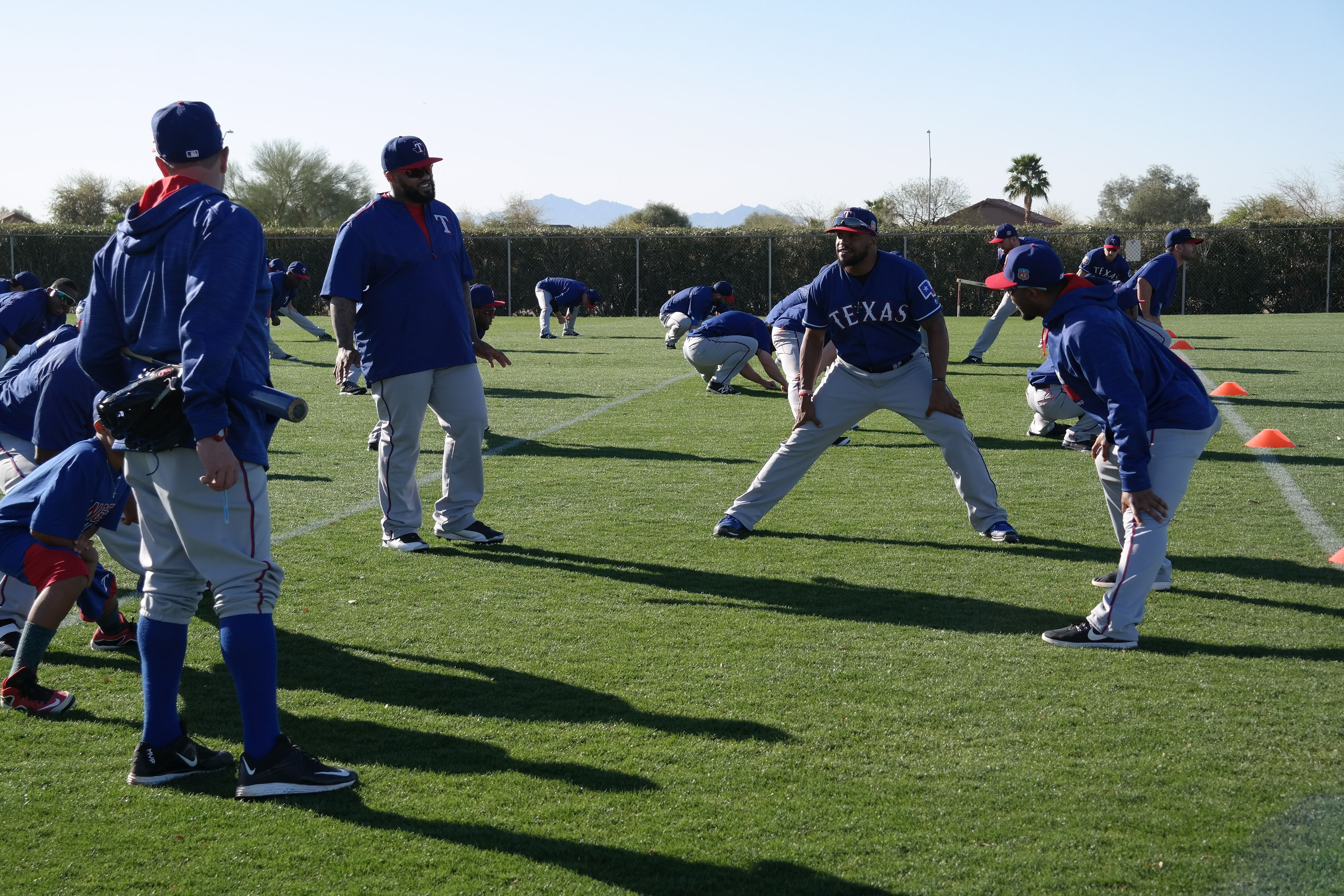 Prince, Adrian, Delino and Elvis chat during prepractice