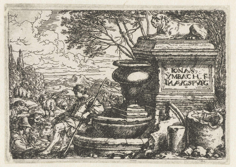 Jonas Umbach | Rustende herders bij een bron, Jonas Umbach, 1634 - 1693 | Twee herders met hun kudde schapen bij een bron. Rechts een sokkel met daarop een beeld van een liggende leeuw.