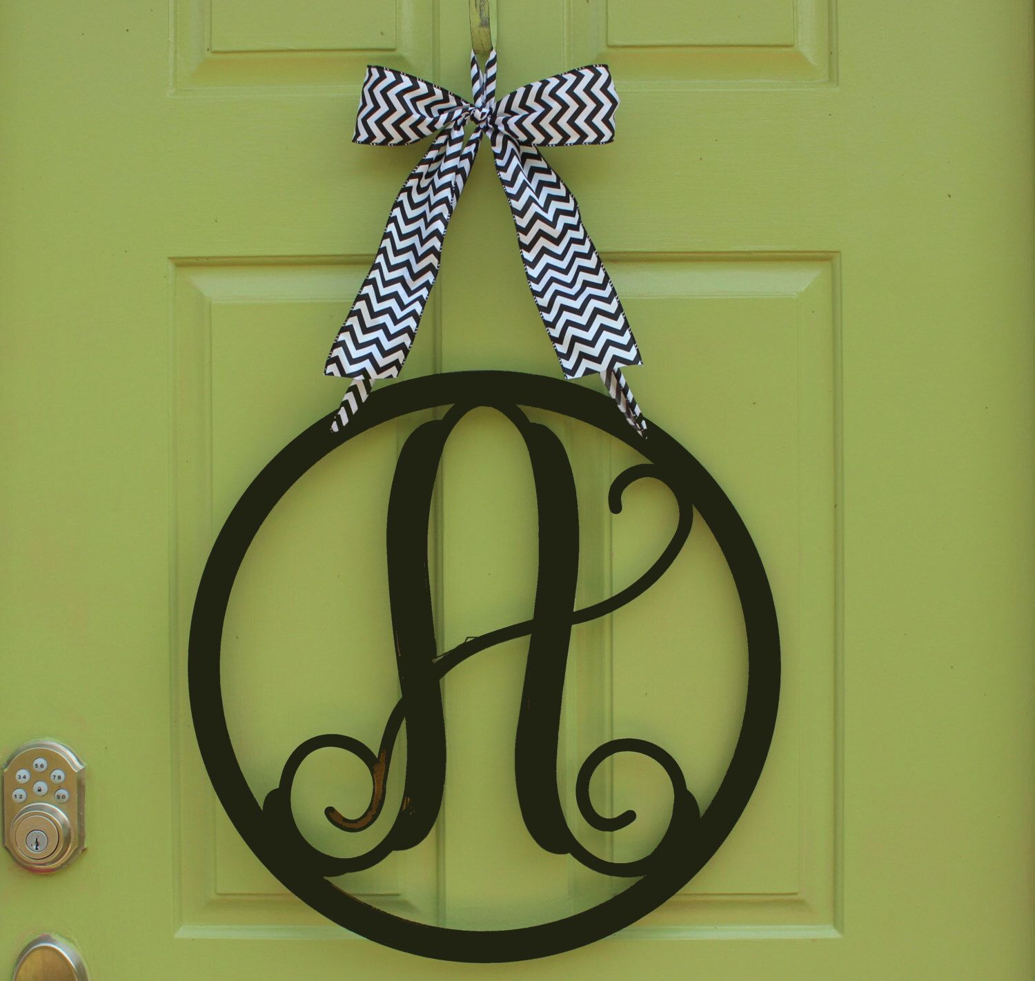 Outdoor Metal Monogram Letters Entrancing Round Monogram Wreath  Outdoor Safe Wreath  Door Monogram Decorating Inspiration