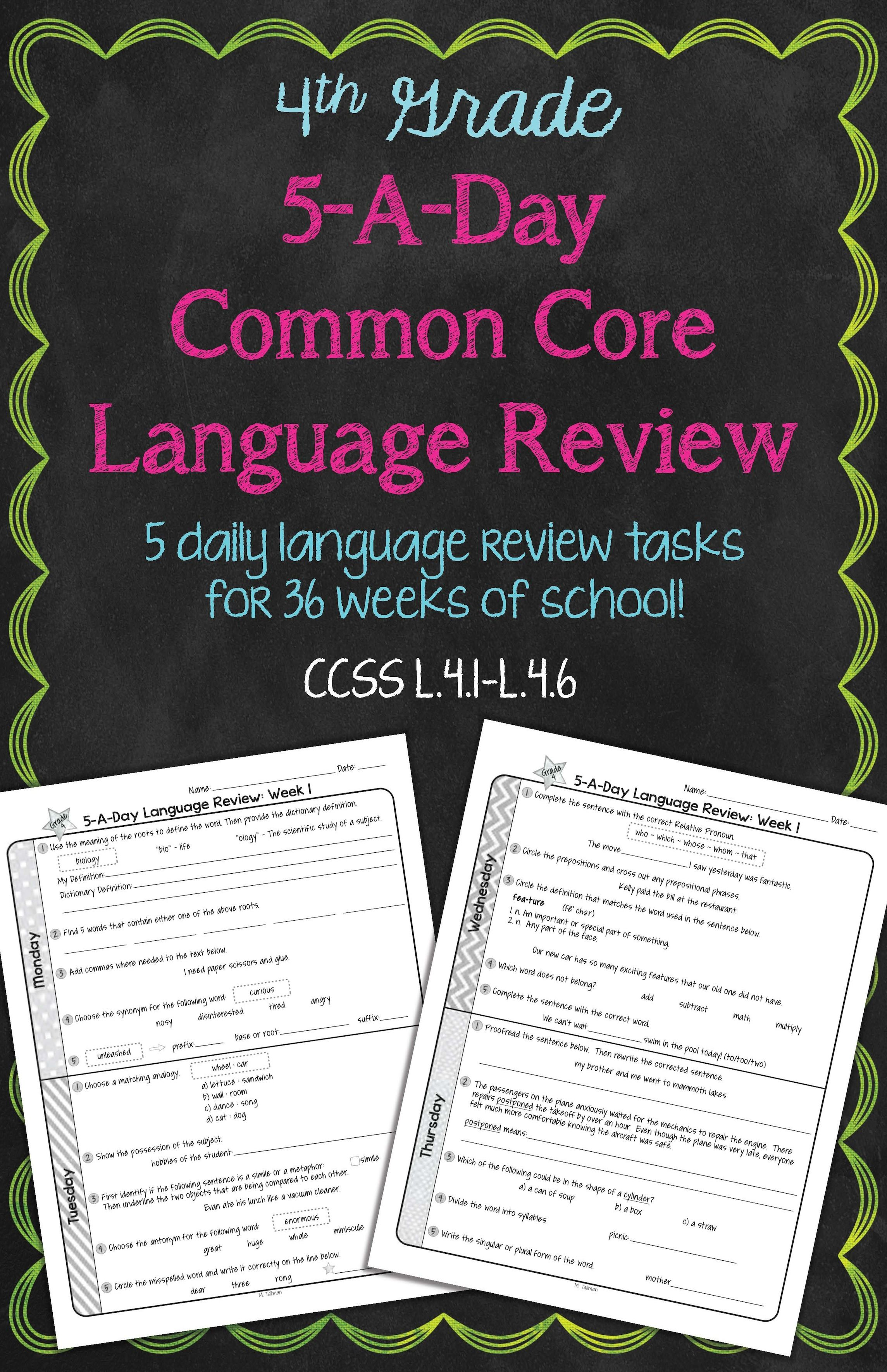 4th Grade Daily Language Spiral Review Morning Work