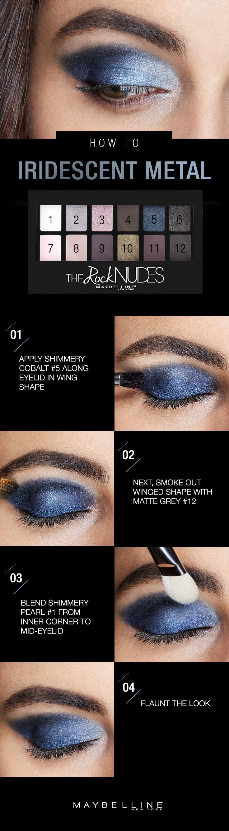 The 4th of July weekend calls for a blue smokey eye look (gotta rep that flag, of course). To rock this iridescent metal eyeshadow look, grab the new Maybelline Rock Nudes palette and apply shimmery cobalt blue along your lid from the inner to outer corner, forming a subtle winged shape. Draw out the shape, making it a bit smoky with matte grey, then highlight and blend with shimmery pearl.