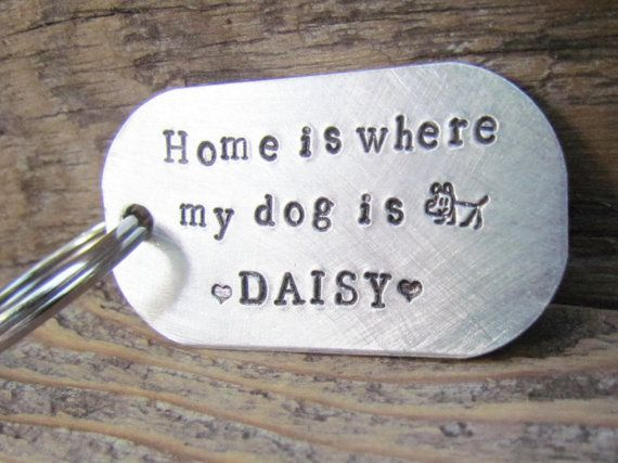 Pet Key Chain Custom Home Is Where My Dog Is Dog by AlwaysAMemory, $19.00