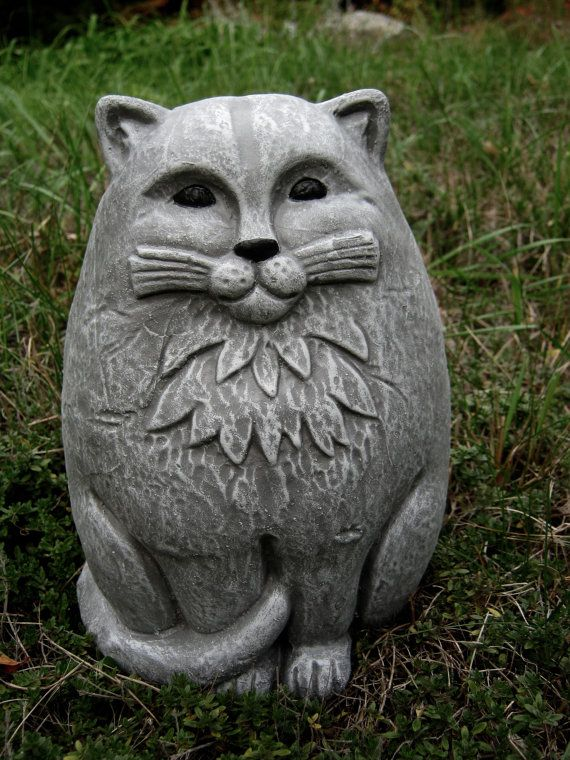 Cat Statue, Large Concrete Garden Cats, Cement Cat Figure, Garden ...