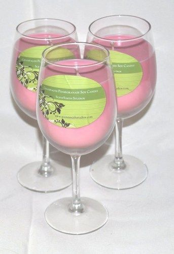 Wine Candle - Rose (Champagne Pomegranate Fragrance) | ScentSmithStudios - Candles on ArtFire