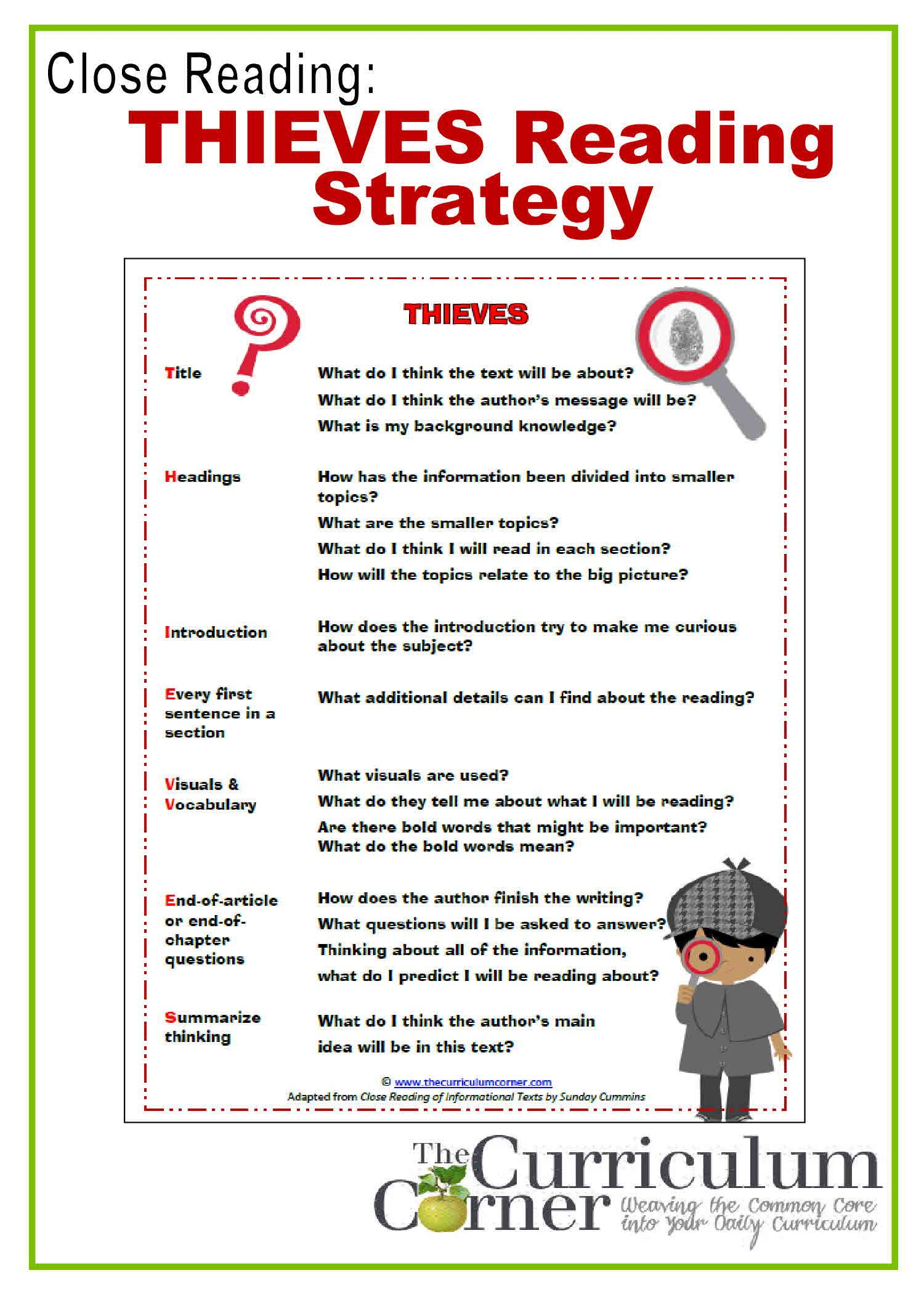 Close Reading Thieves Reading Preview Strategy